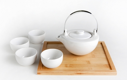 Λευκό πορσελάνινο σετ τσαγιού Ying