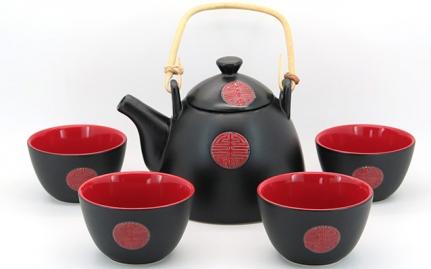 Μαύρο και κόκκινο σετ τσαγιού Shantou
