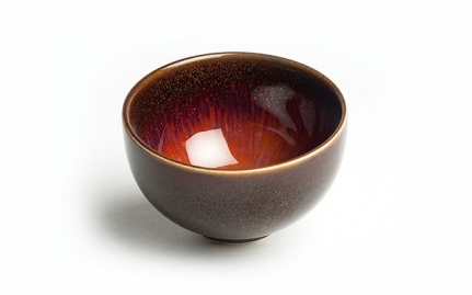 Brown and gold ceramic cup Jin Huang
