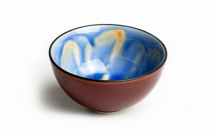 Brown and blue porcelain cup Hana