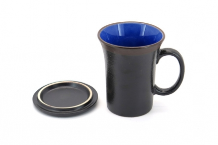Brown and blue ceramic mug