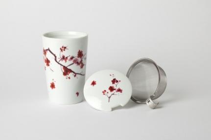 Large 0,35L porcelain mug Cherry blossom
