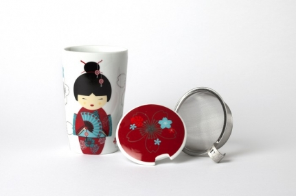 Large 0,35 L porcelain mug Red geisha