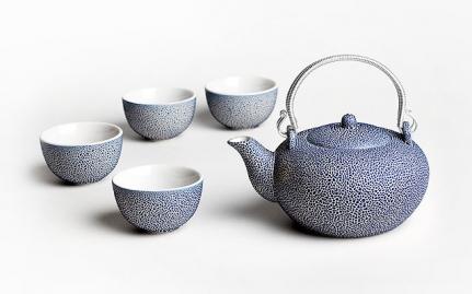 Μπλε κεραμική τσαγιέρα και 4 κούπες Cheng