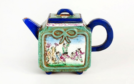 Rectangular earthenware teapot Chun